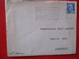 Timbre Marianne De Gandon 15 F  Bleu  Sur Lettre 1954 - Usati