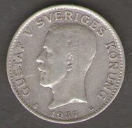 SVEZIA 1 KRONE 1937 AG SILVER - Suecia