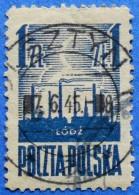 POLAND SILHOUETTE OF LODZ 1 Zl. 1945 Mic.391 - USED - 1944-.... République