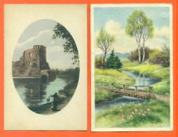 """Lot De 2 CPA  D´illustrateur  """" Paysages D'eté  """" - Cartes Postales"""