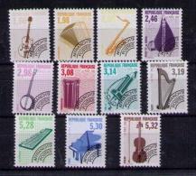 FRANCIA 1992 - PREOBLITERES YVERT Nº  213-223 -  INSTRUMENTS DE MUSIQUE