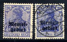 MEMEL 1920 Overprints On Germany  20 Pfg. In A And B Shades, Used.  Michel 4a-b - Klaipeda