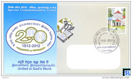 Sri Lanka Stamps, Ceylon Bible Society, Special Commemorative Cover