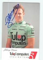 Johnny DAUWE , Autographe Manuscrit, Dédicace . 2 Scans. Cyclisme. Tulip Computers - Cycling