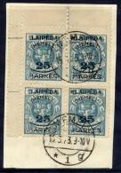 MEMEL 1923 (5. Feb.) 25 Mk. On 5 C. With  Overprint Varieties On Two Stamps, Used Corner Block.  Michel 125 I X 2 - Klaipeda
