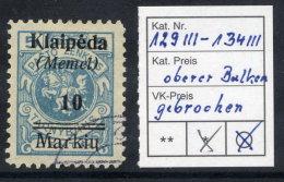 MEMEL 1923 (7. Feb.) 10 Mk. On 5 C. With  Overprint Variety Break In Upper Bar, Used.  Michel 129 III - Klaipeda