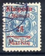 MEMEL 1923 (7. Feb.) 25 Mk. On 5 C. With  Overprint Variety  Two Breaks Lower Bar, Used.  Michel  130 VI - Klaipeda