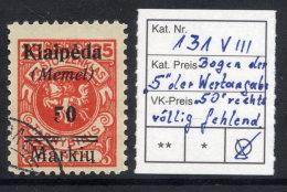MEMEL 1923 (7. Feb.) 50 Mk. On 25 C. With  Overprint Variety  Curve Of 5  Missing, Used.  Michel  131 VIII  Cat. €400 - Klaipeda