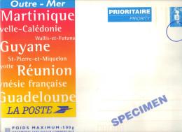 Entier Enveloppe Cartonnée PAP Outremer , Briat Bleu ,500 Grs  . SPECIMEN . - Entiers Postaux