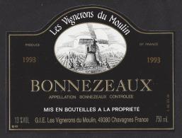 Etiquette De Vin Bonnezeaux1993 - GIE Les Vignerons Du Moulin à Chavagnes  (49) - Moulin à Vent - Windmills