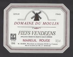 Etiquette De Vin Fiefs Vendéens 37.5 Cl  - Domaine Du Moulin  -  Thème Moulin à Vent - M.  Babin à La Couture (85) - Windmills