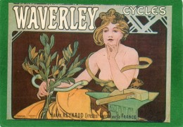 REPRO AFFICHE PUBLICITE (092) WAVERLEY CYCLES SIGNE MUCHA N° M 1 - Pubblicitari