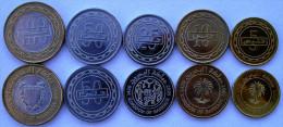 BAHRAIN SERIE 5 MONETE CON 1 BIMETALLICA 100-50-25-10-5 FILS - Bahrein