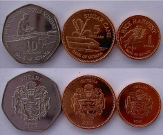GUYANA SERIE 3 MONETE 10$  5$  1$  FDC UNC - Guyana