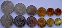 KYRGYZSTAN SERIE 6 MONETE 5-3-1 COM + 50-10-1  CENT FDC - Kirghizistan