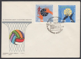"""Poland 1963, FDC Covers """"European Basketball Championship In Worclaw"""" W./postmark Warshaw"""