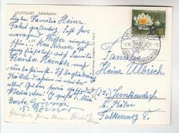 1957 GERMANY COVER EVENT Pmk BUNDESTHEFFEN Der SCHLESIEN (photo Postcard Stuttgart)  Flower Stamps