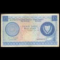 CYPRUS 1967 FIVE POUNDS BANKNOTE F+ - Chypre
