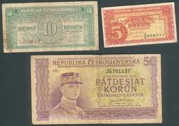 Tschechoslowakei, 5,10,50 Korun, Gebraucht - Tchécoslovaquie