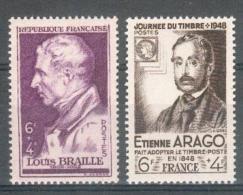 France -1948 - Louis Braille & Etienne Aragon - Y&T N°793/794 ** Neufs Luxe (1er Choix)