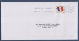 = Enveloppe Avec Timbre Franchise Militaire Posté 2016 Et Non Taxée N° 13 Drapeau 25.10.16 - Franchise Stamps