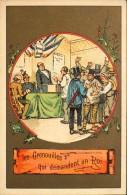 CHROMO & IMAGE - Belle CHROMO Dorée - La FONTAINE - Les GRENOUILLES Qui DEMANDENT Un ROI - En Très Bon Etat - - Altri