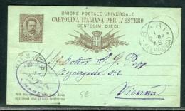 Italie - Entier Postal De Bari Pour Vienne En 1888   Réf O 142 - Stamped Stationery