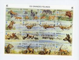Angola 1996-Léopard,guépard,lion Ne,-Lubrapex 95-YT 1031/46-feuille***MNH