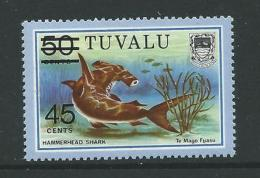 TUVALU SG157 1984 SURCHARGE 45c ON 50c MNH