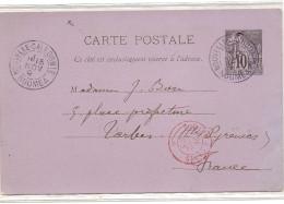 Entier Postal Datée De Nouméa 1893 Pour Tarbe  France - Trés Beau Document - Briefe U. Dokumente