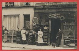 60 - NOYON - Carte Photo - Magasin Eugène FERON - Sacs Et Baches - 3 Scans - Noyon