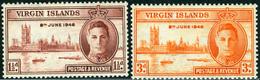ISOLE VERGINI, VIRGIN ISLANDS, BRITISH COLONY, 1946, , PACE, PEACE, RE GIORGIO VI, NUOVI (MLH*), Scott 88,89 - British Virgin Islands