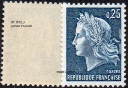 France Variété N° 1535 B ** Marianne De Cheffer - La République, Le 0fr25 Bleu Gravé, Gomme Tropicale