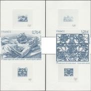 France 2015 Y&T 4930/1. Épreuves D'artiste Bleues. Basilique De Saint-Denis. Vitrail, Mausolée De Louis XII Et Anne