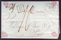 """SEINE INFERIEURE - LAC - Tàd T12 ROUEN + """"R"""" Recommandé + Taxe 10 Pour Paris (60) - 1801-1848: Précurseurs XIX"""