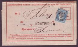 SOMME - LAC - Tàd T16 MONTDIDIER (21-11-1871) Sur N° 37 Pour Mareuil (76), Avis De Réception De Chargement N° 103 De Mon