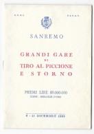 Programma: ITALIE - SANREMO Grandi Gare Di Tiro Al Piccione 1955. 24 Pages (Chasse, Ball Trap) - Chasse/Pêche