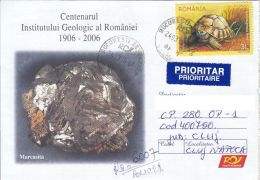 51272- MARCASITE, MINERALS, REGISTERED SPECIAL COVER, TURTLE STAMP, 2016, ROMANIA