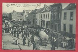 Hannut - Top Carte - Marché Aux Porcs ... Rue De La Station - 1908 ( Voir Verso ) - Hannut
