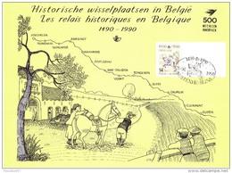 C- 2350  Carte Souvenir 60000 - Rare - Estafette Historique 1490-1990 N°10 Vert 0-1-1900 4458 Fexhe-Slins - Foglietti
