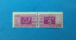 1947 ITALIA FRANCOBOLLO NUOVO STAMP NEW MNH** SERVIZI PACCHI POSTALI 5 LIRE FILIGRANA RUOTA - Pacchi Postali