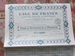 ACTION DE 200 FRANCS 1918 - L'ILE DE FRANCE - COMPAGNIE FRANCAISE DE REASSURANCES - Banque & Assurance