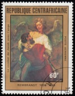 CENTRE AFRICAN REPUBLIC - Scott #C240 Jacob Wrestling With Angel By Rembrandt / Used Stamp