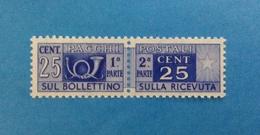 1955 ITALIA FRANCOBOLLO NUOVO STAMP NEW MNH** - SERVIZI PACCHI POSTALI 25 CENTESIMI FILIGRANA STELLE - - Pacchi Postali