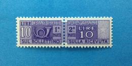 1955 ITALIA FRANCOBOLLO NUOVO STAMP NEW MNH** - SERVIZI PACCHI POSTALI 10 LIRE FILIGRANA STELLE - - Pacchi Postali