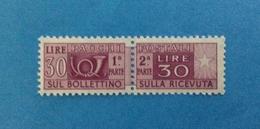 1956 ITALIA FRANCOBOLLO NUOVO STAMP NEW MNH** - SERVIZI PACCHI POSTALI 30 LIRE FILIGRANA STELLE - - Pacchi Postali