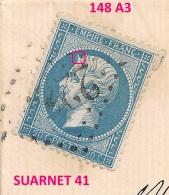 Sur LETTRE, 148 A3, SUARNET 41, MAYENNE 11 JUILLET 1866. PLANCHAGE Napoléon Non Lauré N°22.
