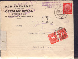 Lettre Obl. Rybnik 10.06.1941 Affr Hindenburg  ->St Gall Zensur/Censure/Censored E + Taxe Suisse 35 Rp - Briefe U. Dokumente