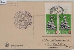 1940 Pro Patria B3/364 Im Paar - Stempel: Basler Bundesfeiermarken - Ak Basel - Münsterbeleuchtung - Pro Patria