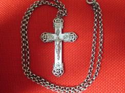 Très Belle Croix Communion Ancienne Argent Et Nacre Avec Chaine Catholique Médaille Religieuse Etat TTB - Religion & Esotérisme